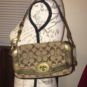 Coach Legacy Gorgeous Shoulder Bag Signature Gold